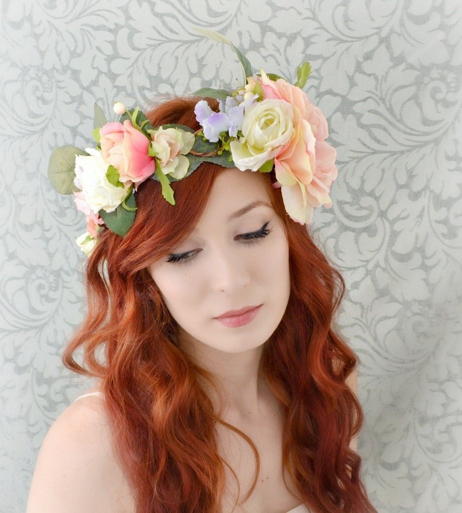 Wedding Hairstyles Boho: Boho Floral Crown Wedding Head Piece Bridal Hair Accessory