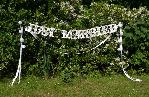 large Just Married wedding banner