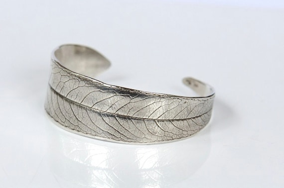Cuff bracelet. Sterling silver willow leaf for small to medium wrists