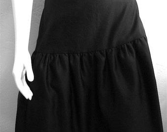 Vintage Women's 80's Leslie Fay, Skirt, Black, Ruffle, Polyester (S)
