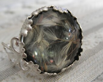 Victorian Filigree Nature's Wearable Art Crown Glass Ring w/ Wispy Dandelion Seeds Atop Black Background-Symbolizes Happiness-Gifts Under 20