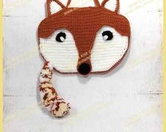 Crochet Fox Purse Pillow PJ Case - Acrylic White Brown