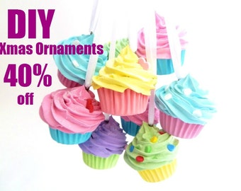 DIY Xmas Ornaments SALE 40% Off - Set Of  5  Assorted MINI Fake Cupcakes Christmas tree Ornaments Do It Yourself