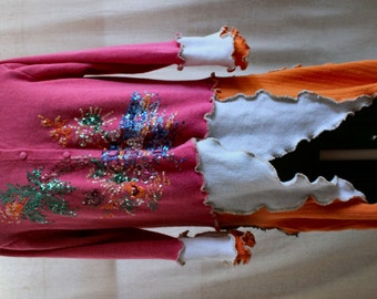 50%OFF at Checkout. Upcycled OOAK Sweater Coat in Pink, Orange, Blue and White with Multi Colored Sequins