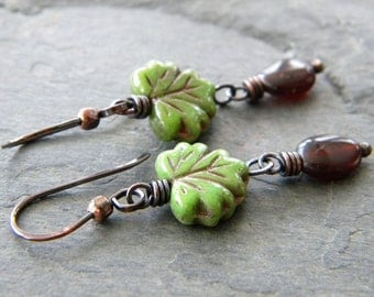 Olive Green Leaf Brown Copper Earrings Spessarite Long Dangle Dark Oxidized Artisan Jewelry