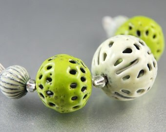 Green and Cream Enameled Beads, Mixed Set, Filigree Rounds, Glass, Metal, SRA