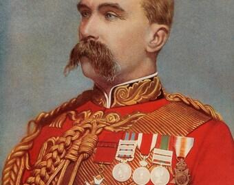 1900, Lieutenant-General,Sir Alfred Gasalee K,C.B. Antique Print, Army 113, Military Moustache, Uniform Commander, Frameable Art