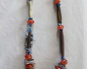 wampum necklace with carnelian and horn