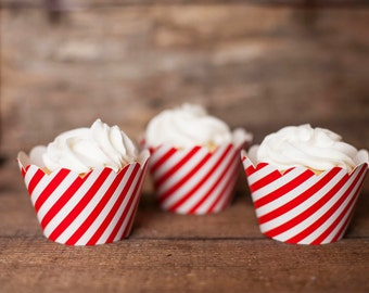 12 Cupcake Wrappers - Red Striped Cupcake Wrappers - Red Stripe Wrappers - Great for Birthday Parties, Baby Showers & Bridal Showers