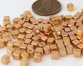 Gold Miyuki Cube Miyuki Shoji Beads 10-Grams 4mm Glass Squares