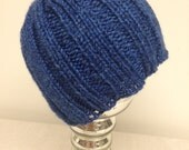 Toddler beanie hat, blue hat, ribbed