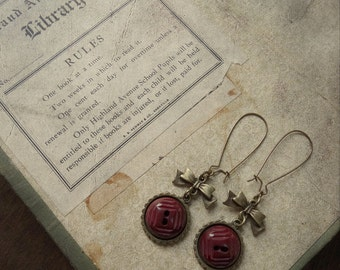 Sweet Bows and Burgundy Wine Vintage Button Earrings