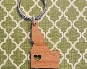 Boise, Idaho Wood Love Key Ring