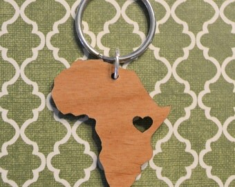Kenya Love Wood Key Ring