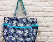 Lazy Daisy Summer Upcycled Weekender - Vintage Black and White Floral Print - Market / Diaper Bag / Teacher Tote - Cottage Country Chic Gift