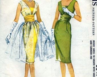 Vintage 1960s Cocktail Dress w Overdress Pattern Low V Neck and Cummerbund...1960 McCalls 5349 Bust 34 UNCUT