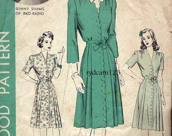 Vintage 1940s Scallop Button Front Dress Patterns...Side Front Skirt Pleats Sleeve Variation...1943 Hollywood 1152 Bust 36