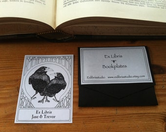 Booklabels Wedding Love Ravens Wedding Gift 15 Personalized Ex Libris Bookplates