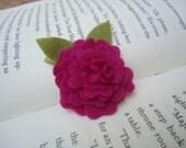 Mini Felt Flower Layer Hair Clip -  Pink Fuschia