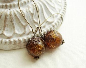 Amber Dangle Earrings In Antiqued Brass Root Beer Brown Long Earrings Vintage Style Jewelry Long Drop Earrings