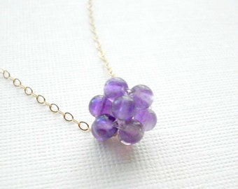 Natural Amethyst Cluster Necklace Gold Filled Grape Necklace February Birthstone Beaded Ball Necklace Everyday Jewelry Purple Necklace