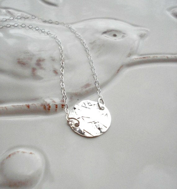 Sterling Silver Coin Necklace Hammered Coin Necklace Geometric Jewelry Modern Silver Necklace White Necklace Gift For Her Under 25