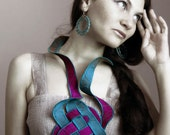 Color Block Fabric Necklace - Silk Cotton, Fashion Statement Accessory, Teal Fuchsia (Turquoise Blue Purple)