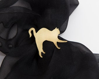 Unique Hand Made Brass Scarf Ring for Cat Lovers with Stretching Cat Siamese Oriental Abyssinian Silhouette Golden Color