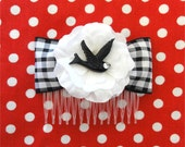 Vintage Swallow Cherry Blossom Gingham Hair Comb - Black - Rockabilly - 50s