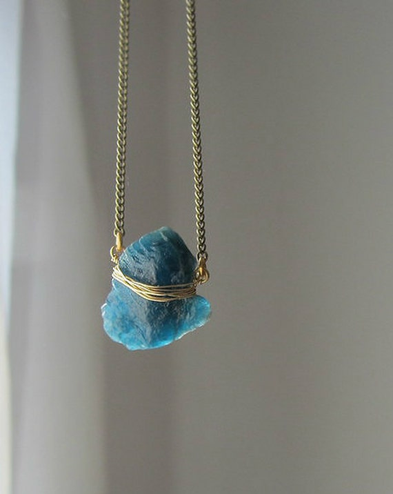 Blue Kyanite Stone Necklace Raw Rock Crystal Pendant With