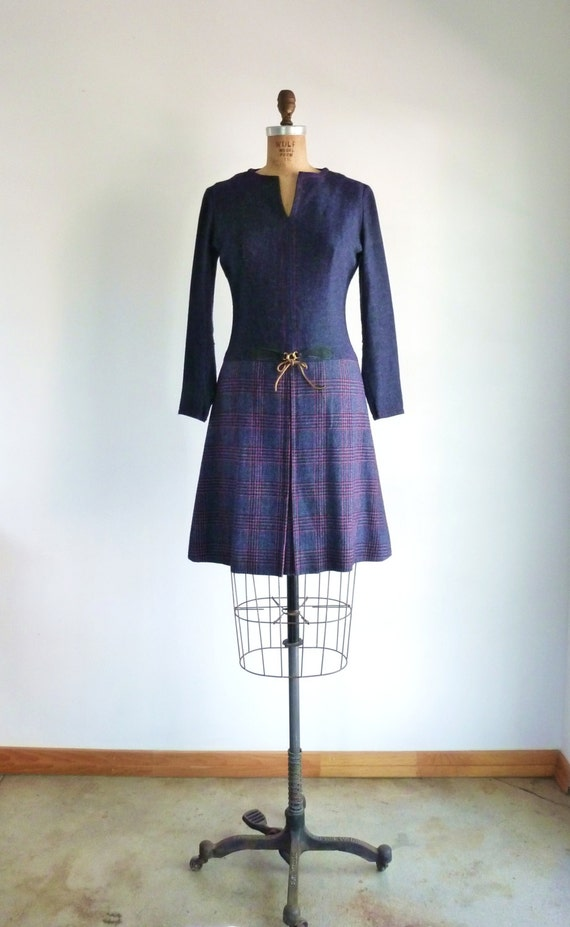 Vintage 60s 70s Grey Navy Blue Houndstooth Plaid Mod Dress Two Tone Long Sleeve S