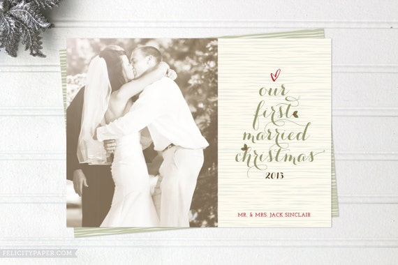 items similar to newlywed christmas cards just married photo