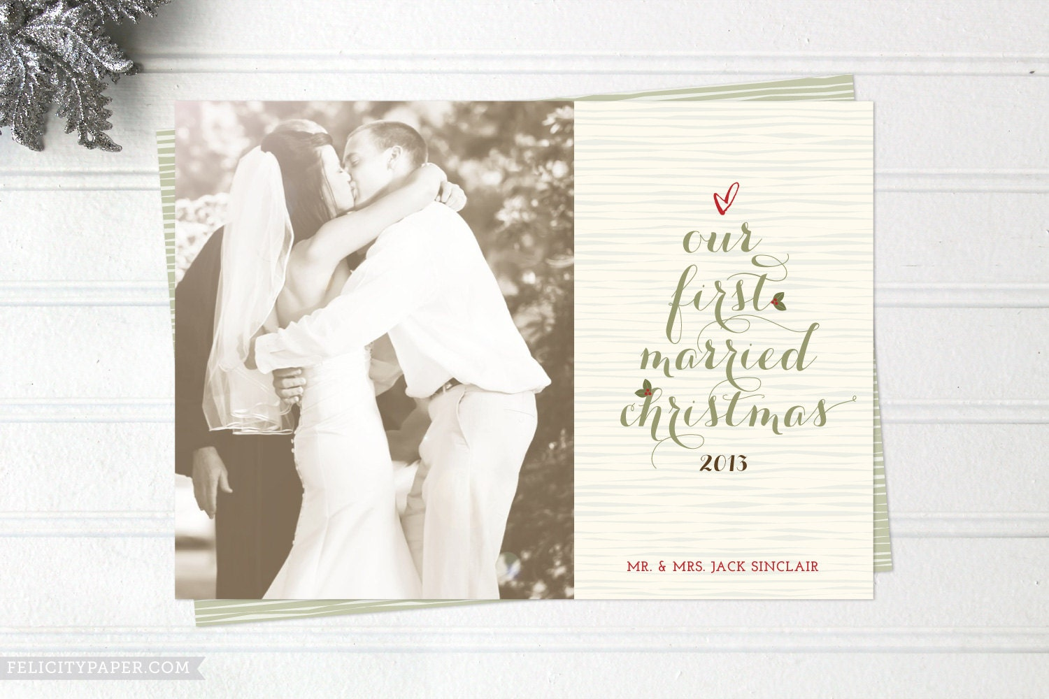 Christmas Card Just Married | Holliday Decorations