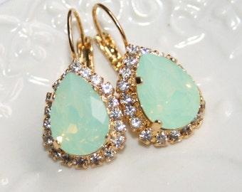 Mint to Be Earrings Mint Opal Earrings Mint Teardrop Jewelry Seafoam Swarovski Earrings Gold Bridal Opal Earrings Green Bridal Earrings