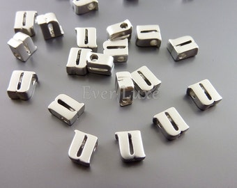 2 Lower case letter u, initial beads, initial charms, alphabet beads, personalized / custom jewelry 1947-MR-U (matte silver, u, 2 pieces)