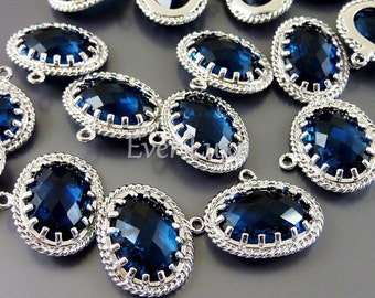 2 Victorian style blue sapphire glass stone charms, oval glass pendants, unique findings 5094R-BS (bright silver, blue sapphire, 2 pieces)