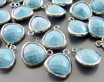 2 turquoise unique stone charms for jewelry making, jewelry supplies, craft supplies, findings 5031R-TQ (bright silver, turquoise, 2 pieces)
