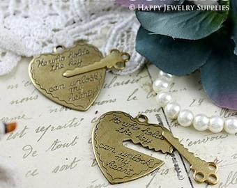 Last - 20 Set Nickel Free - High Quality Raw Brass Heart and Key Charms / Pendants (BG326)--Clearance Sale