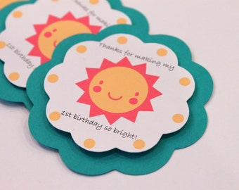 You Are My Sunshine Hot Pink Yellow Aqua Chevron Stripe Polka Dot Sun 12 GIFT TAGS Girl Baby Shower Party Favors Decorations Thank You Tags