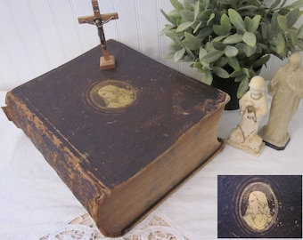 Antique 1856 The Illustrated Domestic Bible, Rev. Ingram Cobbin M.A. The Holy Bible Authorized Version. Large, gold gilt Jesus brown leather