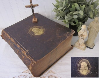 Antique 1856 The Illustrated Domestic Bible, Rev. Ingram Cobbin M.A. The Holy Bible Authorized Version. Gold gilt Jesus brown leather. Prop