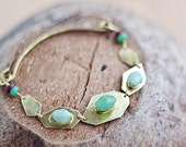 Brass geometric bracelet with mint green chrysoprase