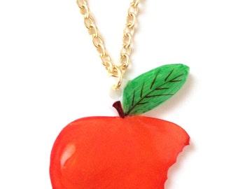 Apple Fruit Necklace - Pendant, Juicy, British, Red, Food, Healthy, Tree, Woodland