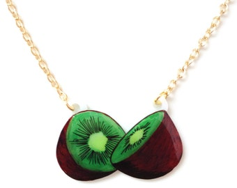 Kiwi Fruit Necklace - Pendant, Tropical, Green, Brown