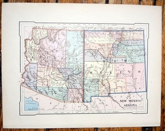 1887 new mexico & arizona original antique map united states of america