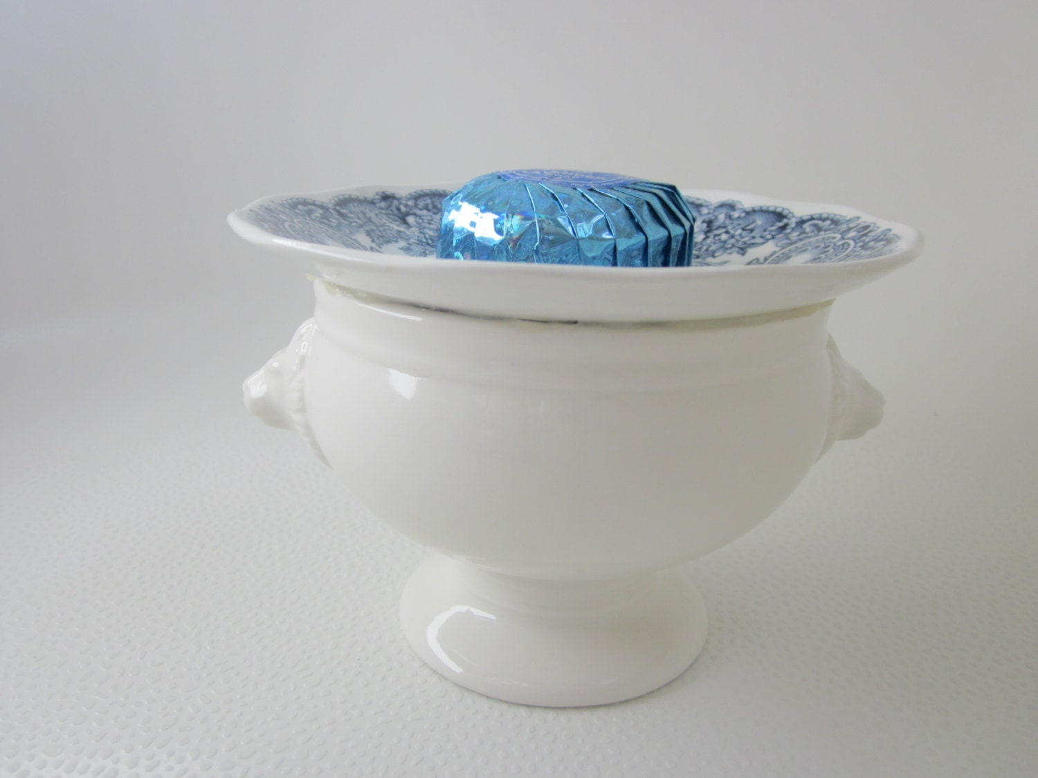 Blue Soap Dish Recycled Bathroom Decor