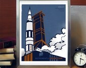 Science Poster Art Print Apollo 11 Lunar Mission Saturn V Rocket Stellar Science Series