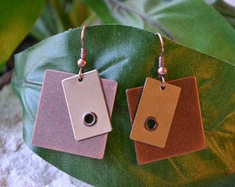 Copper And Silver Earrings, Antique Copper Earrings, Copper Earrings, Silver Earrings, Metal Earrings, Square Earrings, Rivets
