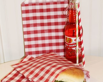 Paper Sandwich Bags - 20 RED GINGHAM Sandwich Bags, Hamburgers, Subs, Favor Bags, Wedding, Birthday, Packaging, Candy Bar, Buffets, Catering