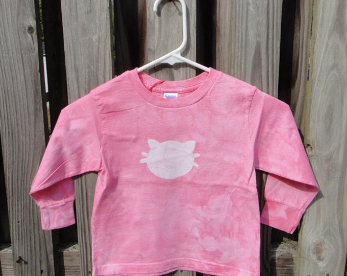 Pink Kids Cat Shirt (3T), Kids Cat Shirt, Girls Cat Shirt, Pink Cat Shirt, Kids Kitten Shirt, Pink Kitten Shirt, Long Sleeve Shirt SALE